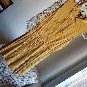 Mustard Yellow collared mini dress
